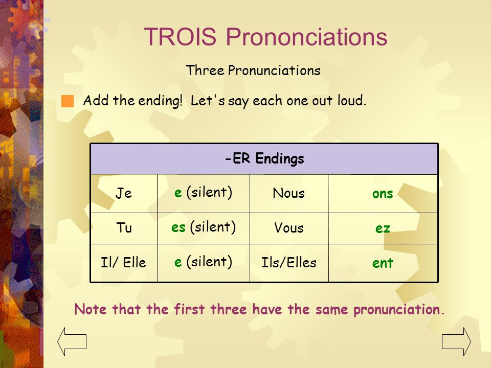TROIS Prononciations Three Pronunciations Add the ending! Let's say each one out loud. Note that the first three have the same pronunciation. ent ez o