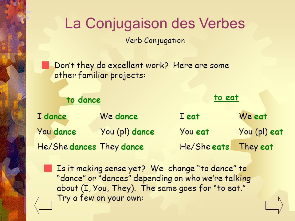 La Conjugaison des Verbes Verb Conjugation Don't they do excellent work.