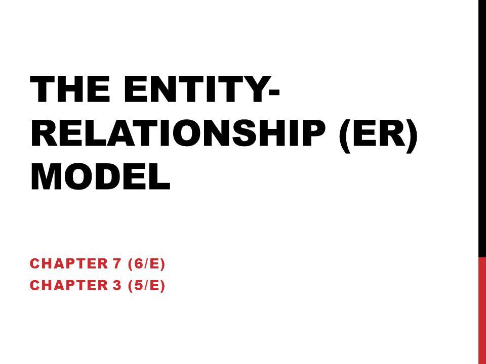 THE ENTITY- RELATIONSHIP (ER) MODEL CHAPTER 7 (6/E) CHAPTER 3 (5/E)
