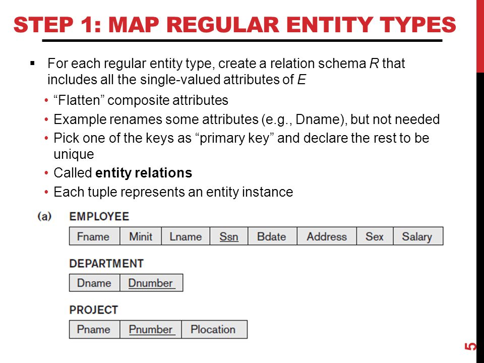 STEP 2: MAP WEAK ENTITY TYPES  For each weak entity type, create a relation schema R and include all single-valued attributes of the weak entity type and of the identifying relationship as attributes of R Include primary key attribute of identifying entity as foreign key attribute of R Primary key of R is primary key of identifying entity together with partial key from R  Omit the identifying relationship when subsequently translating (other) relationship types to relation schemas 6