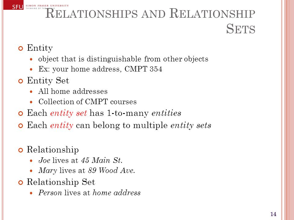 14 R ELATIONSHIPS AND R ELATIONSHIP S ETS Entity object that is distinguishable from other objects Ex: your home address, CMPT 354 Entity Set All home addresses Collection of CMPT courses Each entity set has 1-to-many entities Each entity can belong to multiple entity sets Relationship Joe lives at 45 Main St.