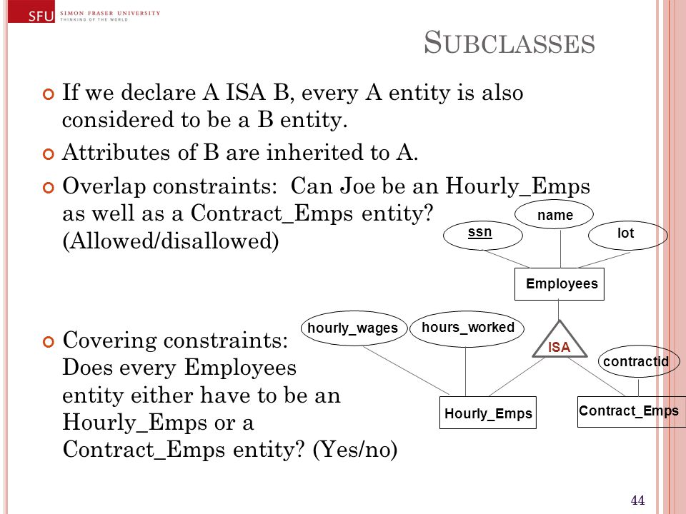 44 S UBCLASSES If we declare A ISA B, every A entity is also considered to be a B entity. Attributes of B are inherited to A. Overlap constraints: Can