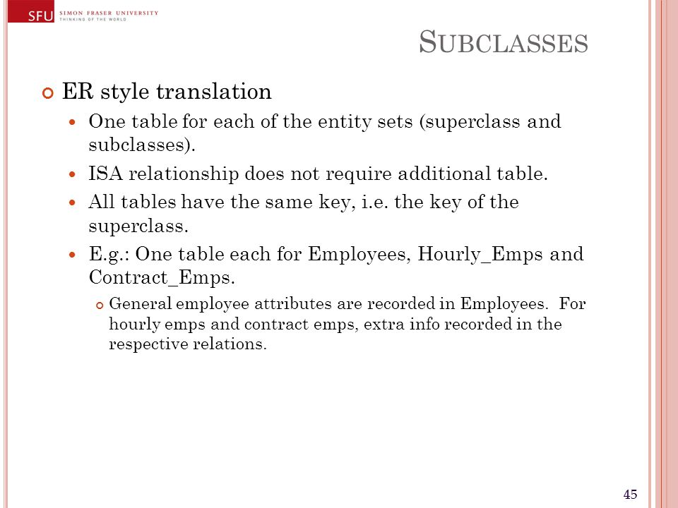 45 S UBCLASSES ER style translation One table for each of the entity sets (superclass and subclasses). ISA relationship does not require additional ta