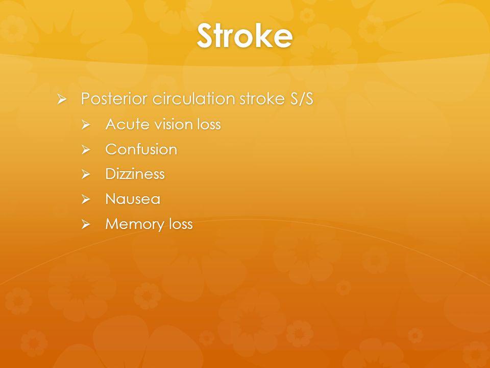 Stroke  Posterior circulation stroke S/S  Acute vision loss  Confusion  Dizziness  Nausea  Memory loss