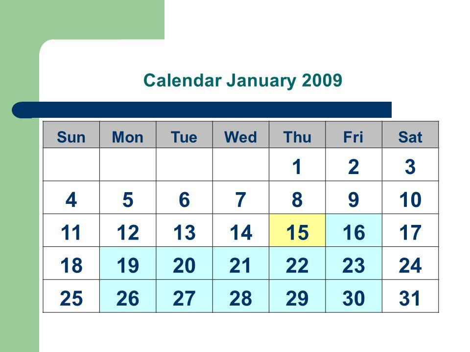 Calendar January 2009 SunMonTueWedThuFriSat 123 45678910 11121314151617 18192021222324 25262728293031