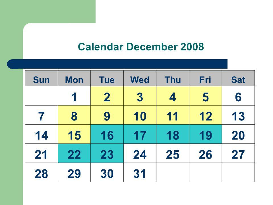 Calendar December 2008 SunMonTueWedThuFriSat 123456 78910111213 14151617181920 21222324252627 28293031