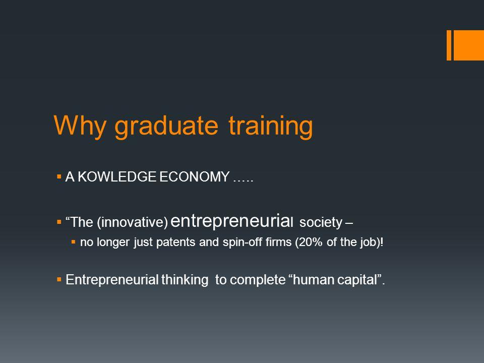Why graduate training  A KOWLEDGE ECONOMY …..