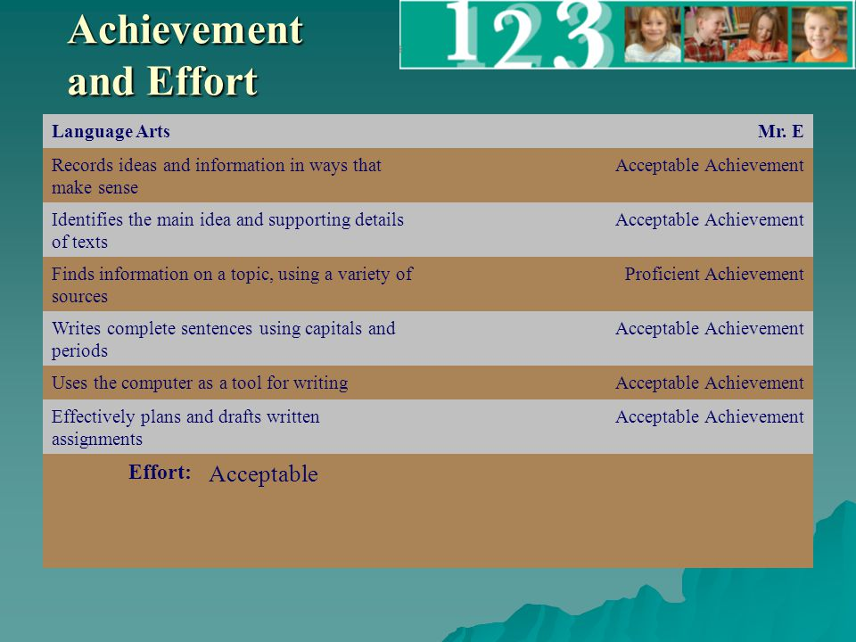 Achievement and Effort Language ArtsMr.