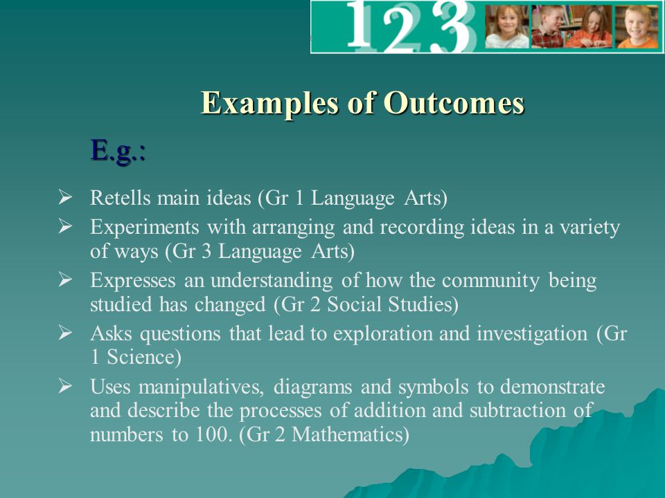 Examples of Outcomes   Retells main ideas (Gr 1 Language Arts)   Experiments with arranging and recording ideas in a variety of ways (Gr 3 Language Arts)   Expresses an understanding of how the community being studied has changed (Gr 2 Social Studies)   Asks questions that lead to exploration and investigation (Gr 1 Science)   Uses manipulatives, diagrams and symbols to demonstrate and describe the processes of addition and subtraction of numbers to 100.