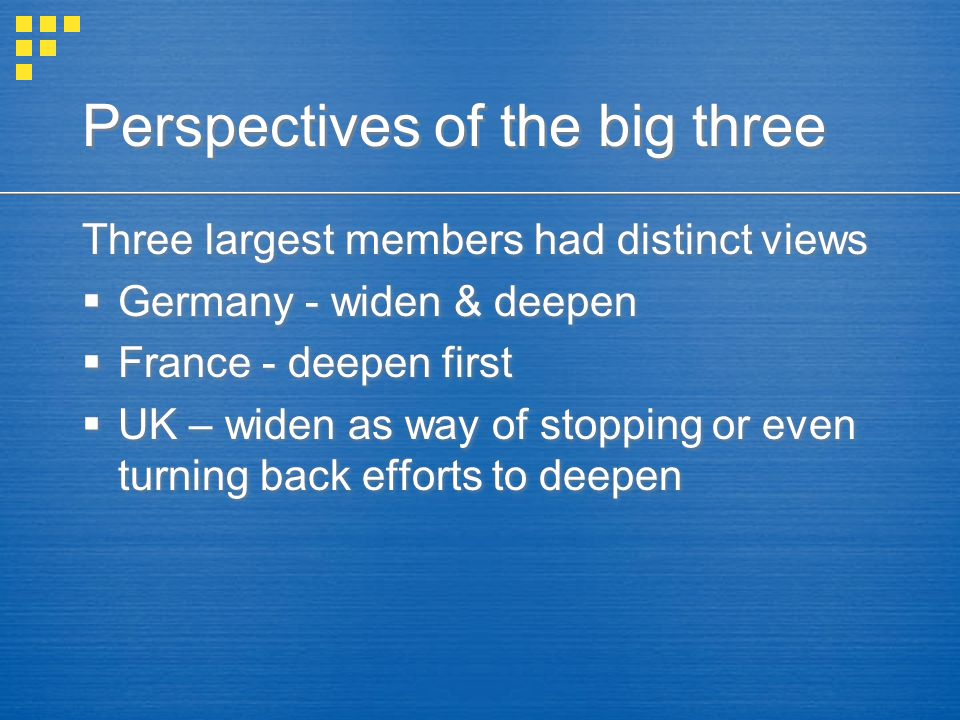 Perspectives of the big three Three largest members had distinct views  Germany - widen & deepen  France - deepen first  UK – widen as way of stopping or even turning back efforts to deepen Three largest members had distinct views  Germany - widen & deepen  France - deepen first  UK – widen as way of stopping or even turning back efforts to deepen