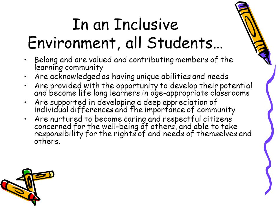 In an Inclusive Environment, all Students… Belong and are valued and contributing members of the learning community Are acknowledged as having unique