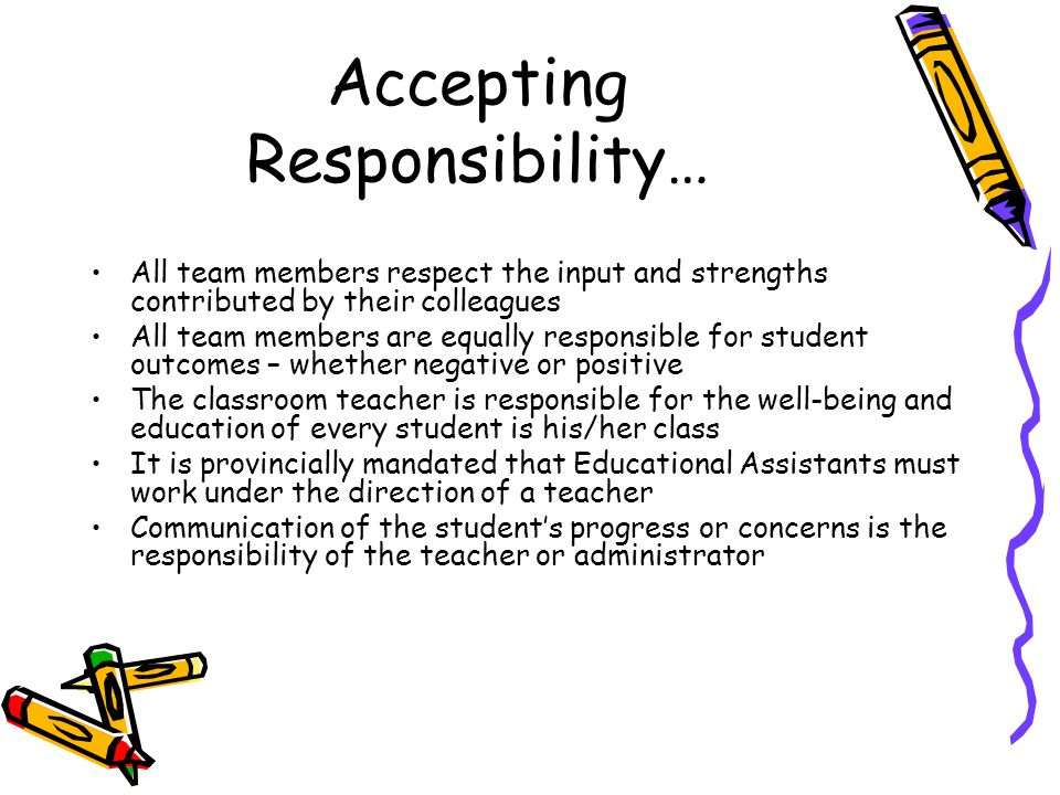 Accepting Responsibility… All team members respect the input and strengths contributed by their colleagues All team members are equally responsible fo