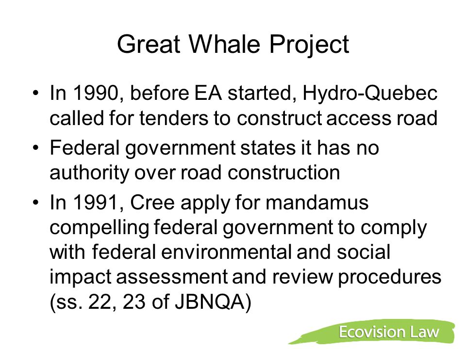 Great Whale Project In 1990, before EA started, Hydro-Quebec called for tenders to construct access road Federal government states it has no authority over road construction In 1991, Cree apply for mandamus compelling federal government to comply with federal environmental and social impact assessment and review procedures (ss.