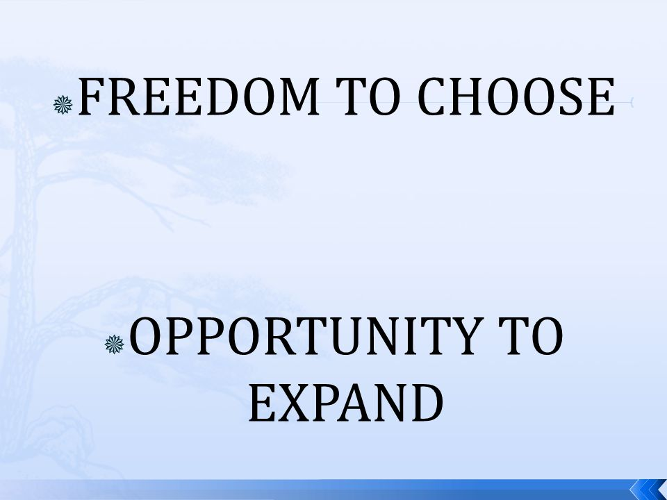  FREEDOM TO CHOOSE  OPPORTUNITY TO EXPAND