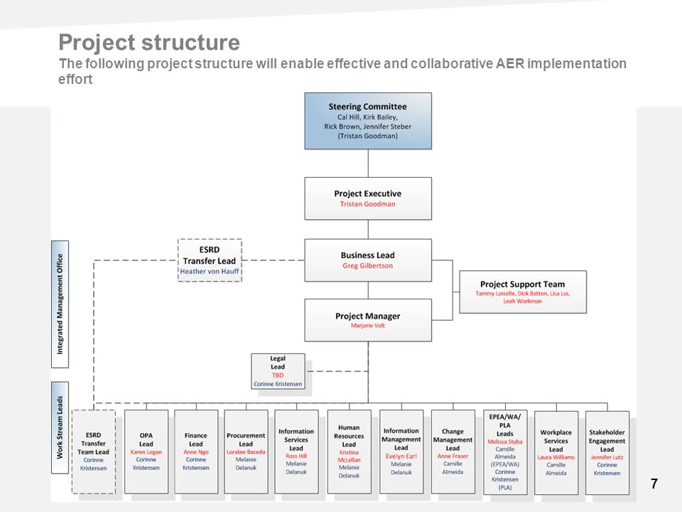 Project structure The following project structure will enable effective and collaborative AER implementation effort 7
