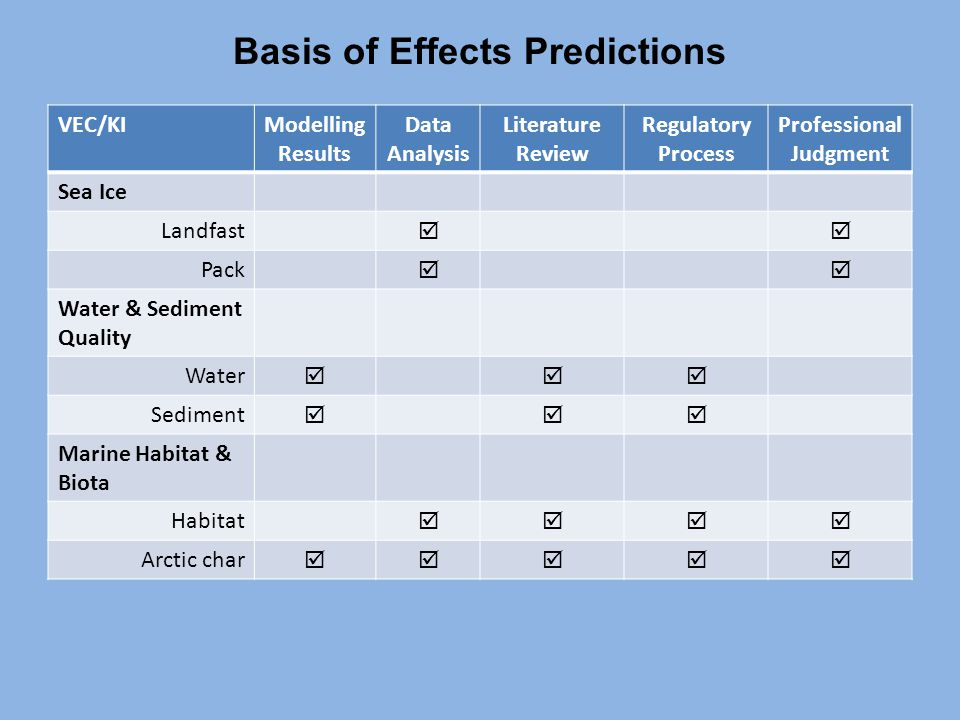 Basis of Effects Predictions VEC/KIModelling Results Data Analysis Literature Review Regulatory Process Professional Judgment Sea Ice Landfast  Pack  Water & Sediment Quality Water  Sediment  Marine Habitat & Biota Habitat  Arctic char 