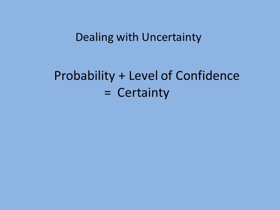 Probability + Level of Confidence = Certainty Dealing with Uncertainty