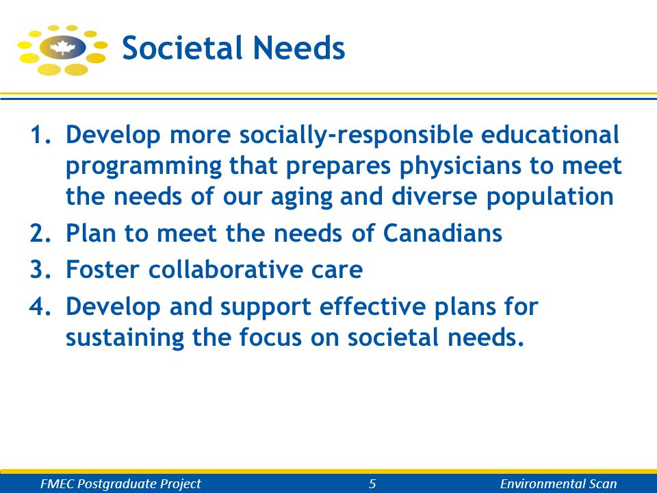 Societal Needs 1.Develop more socially-responsible educational programming that prepares physicians to meet the needs of our aging and diverse population 2.Plan to meet the needs of Canadians 3.Foster collaborative care 4.Develop and support effective plans for sustaining the focus on societal needs.