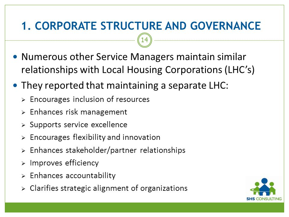 1. CORPORATE STRUCTURE AND GOVERNANCE Numerous other Service Managers maintain similar relationships with Local Housing Corporations (LHC's) They repo