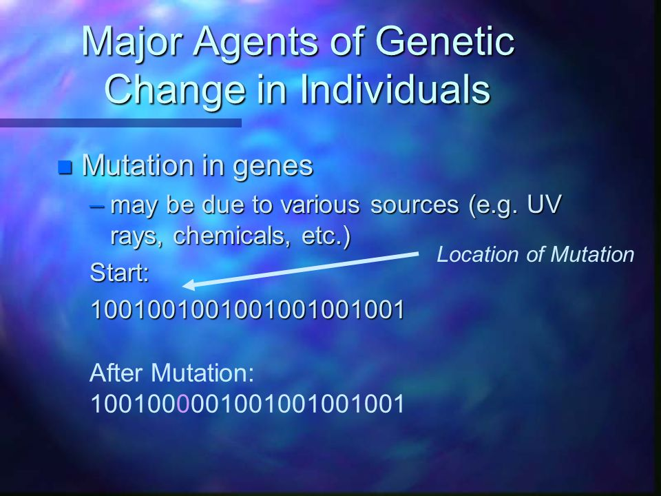 Major Agents of Genetic Change in Individuals n Mutation in genes –may be due to various sources (e.g. UV rays, chemicals, etc.) Start:100100100100100