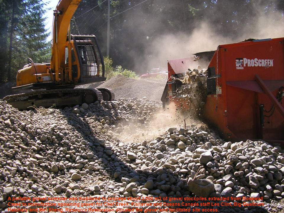 A portable gravel screener was mobilized to process about 3,000 m3 of gravel stockpiles extracted from Rosewall Creek to manufacture spawning gravel for Chef Creek.
