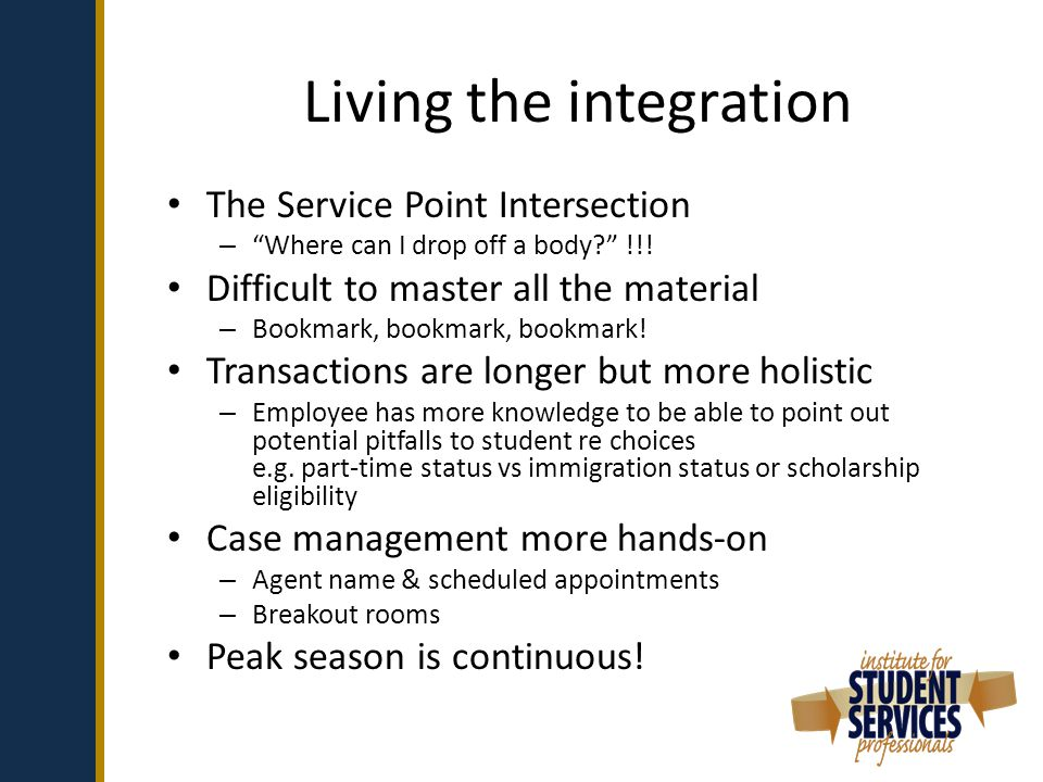 Living the integration The Service Point Intersection – Where can I drop off a body !!.