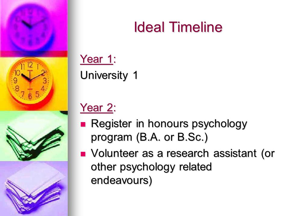 Ideal Timeline Year 1: University 1 Year 2: Register in honours psychology program (B.A.