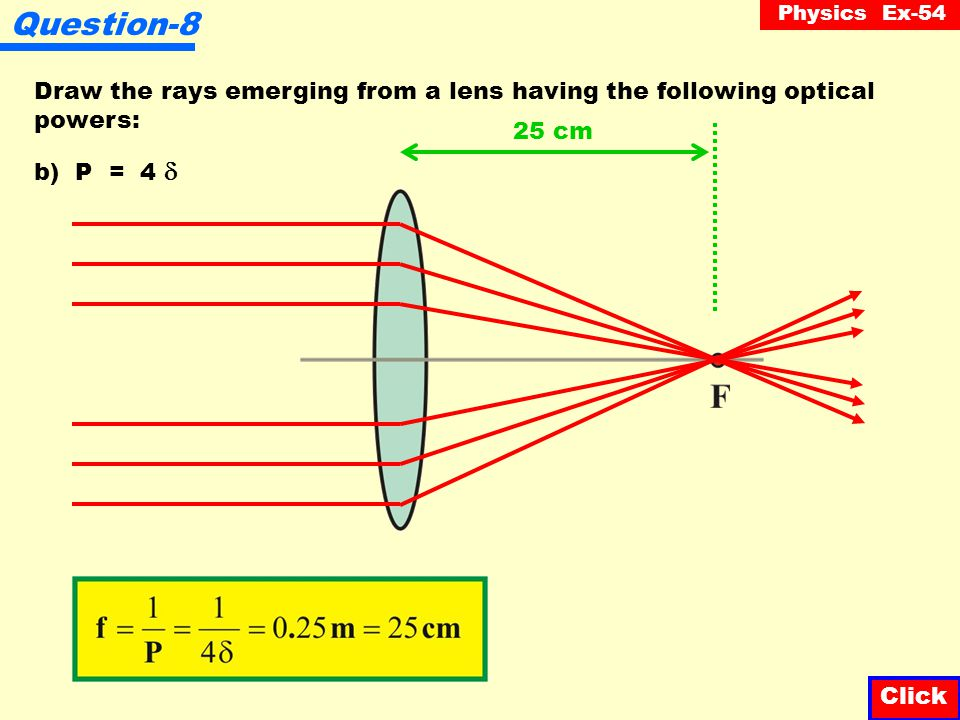 Physics Ex-54 Question-8 Draw the rays emerging from a lens having the following optical powers: Click a) P = 20  5 cm