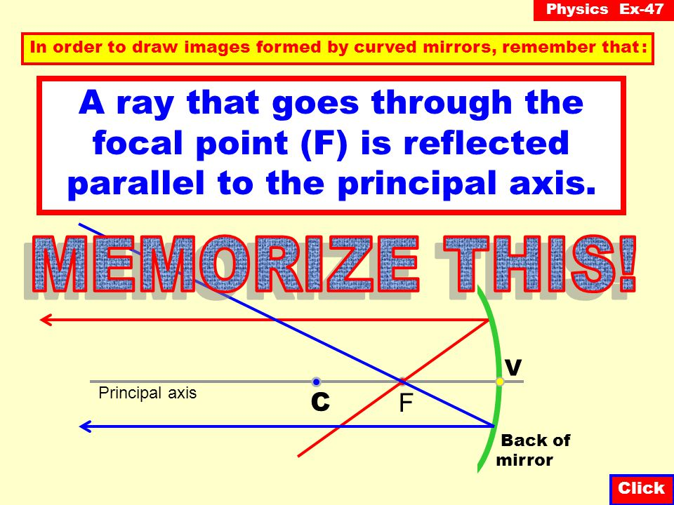 Physics Ex-47 Click A ray parallel to the principal axis is reflected through the focal point (F). In order to draw images formed by curved mirrors, r