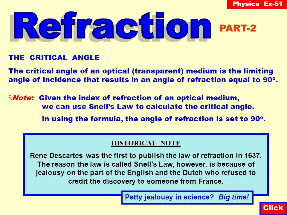 Physics Ex-51 Question-8 As illustrated in the diagram below, a ray of light is incident upon the surface of a medium at an angle of 60 o at which point both reflection and refraction occur.