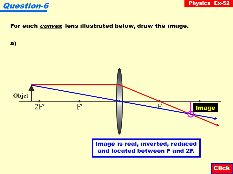 Physics Ex-52 Question-5 How is the image formed by a mirror different from the image formed by a lens? Click A mirror forms an image by reflection wh