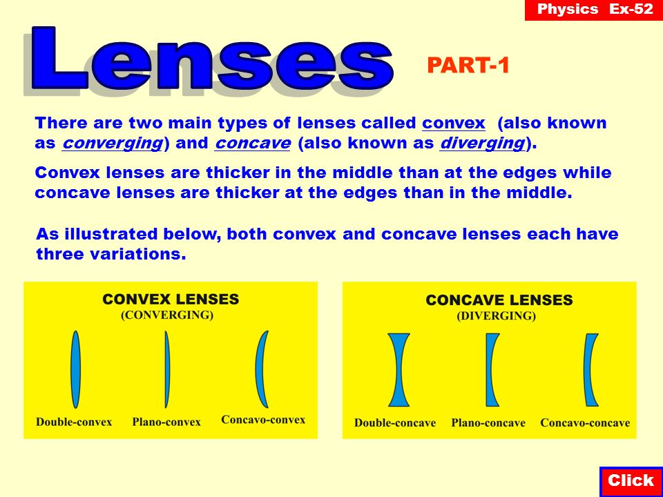Physics Ex-52 Click There are two main types of lenses called convex (also known as converging ) and concave (also known as diverging ).