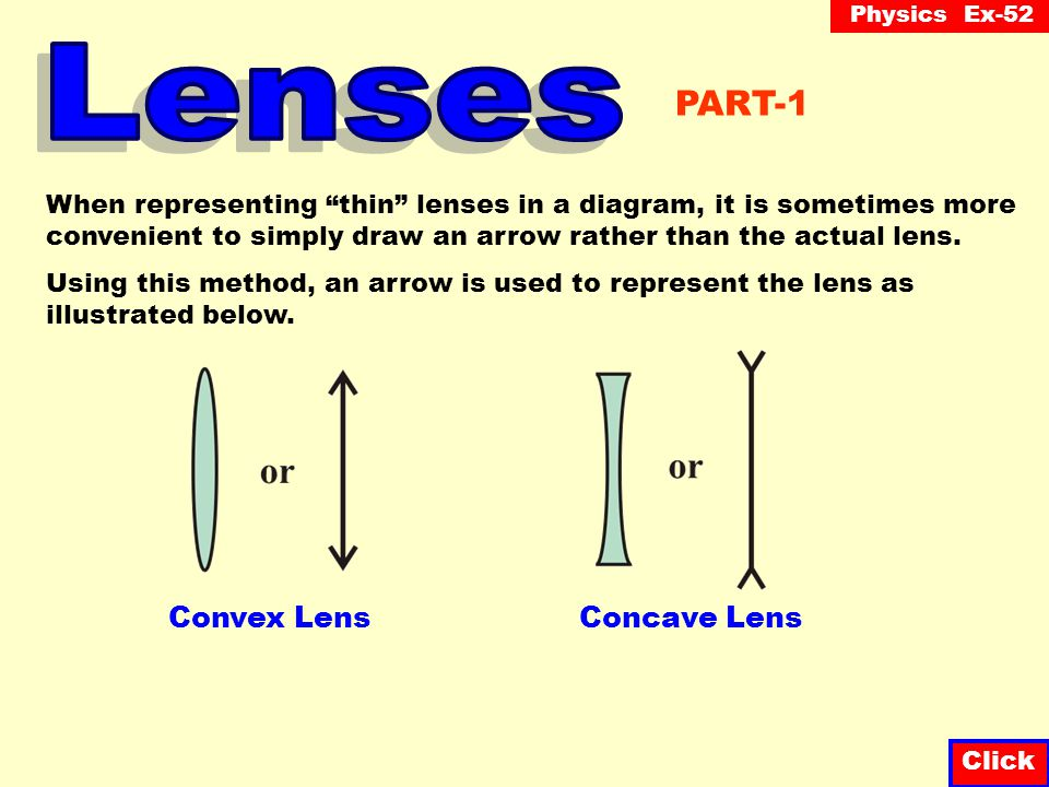 Physics Ex-52 Click There are two main types of lenses called convex (also known as converging ) and concave (also known as diverging ). Convex lenses