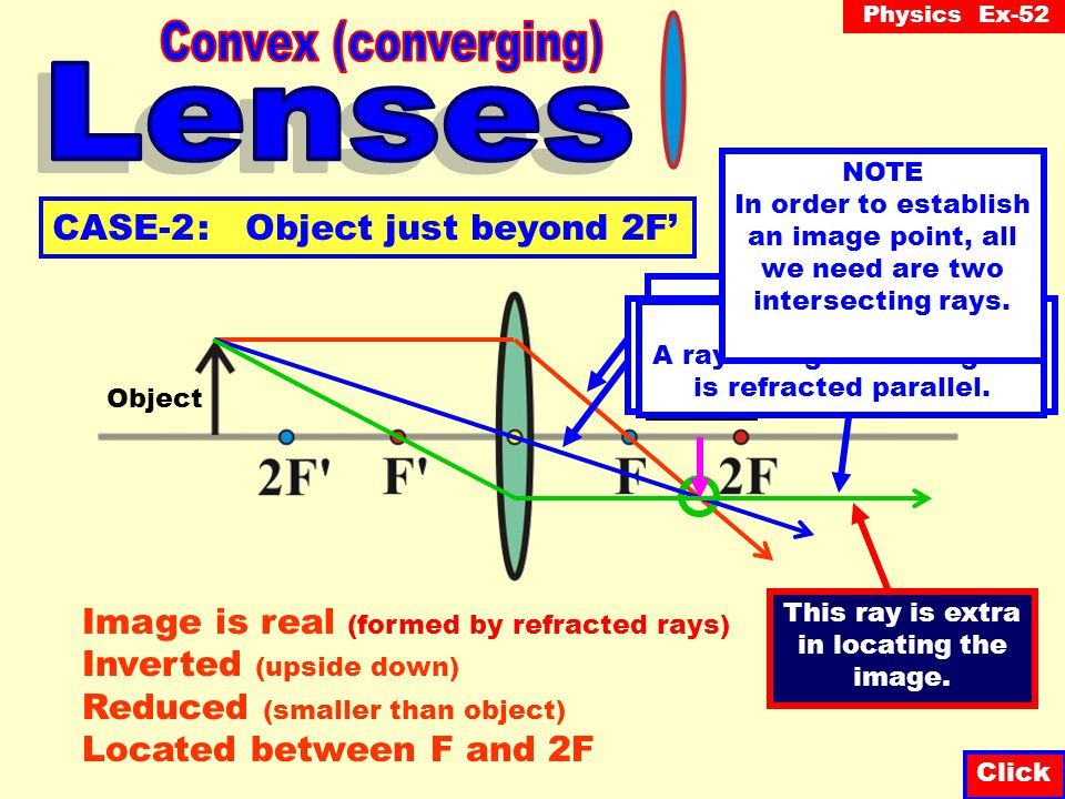 Physics Ex-52 Question-2 A lens that is thicker at the ends than in the middle is known as: Click A lens or a lens.