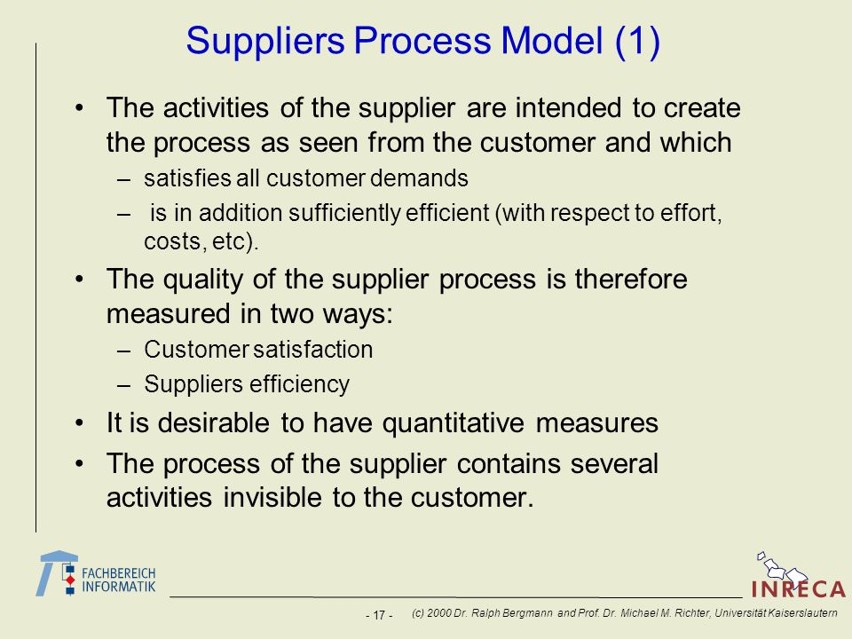 - 17 - (c) 2000 Dr. Ralph Bergmann and Prof. Dr. Michael M. Richter, Universität Kaiserslautern Suppliers Process Model (1) The activities of the supp