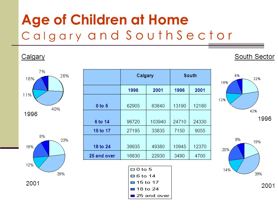 Age of Children at Home C a l g a r y a n d S o u t h S e c t o r Calgary South 1996200119962001 0 to 562905638401319012180 6 to 14967201039402471024330 15 to 17271953383571509055 18 to 2439935493801094512370 25 and over168302293034904700 2001 1996 CalgarySouth Sector