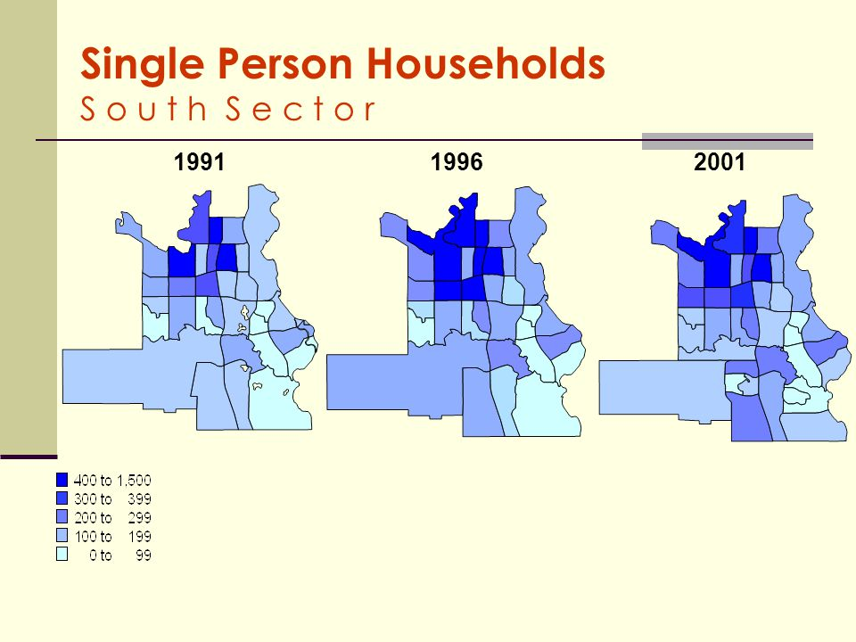 Households with 4 - 5 Persons C a l g a r y 1991 19962001