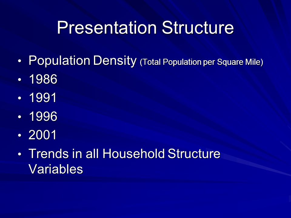 Presentation Structure Population Density (Total Population per Square Mile) Population Density (Total Population per Square Mile) Trends in all Household Structure Variables Trends in all Household Structure Variables