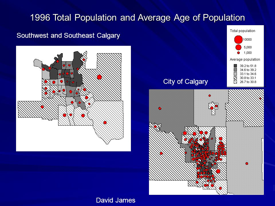 1996 Total Population and Average Age of Population Southwest and Southeast Calgary City of Calgary David James