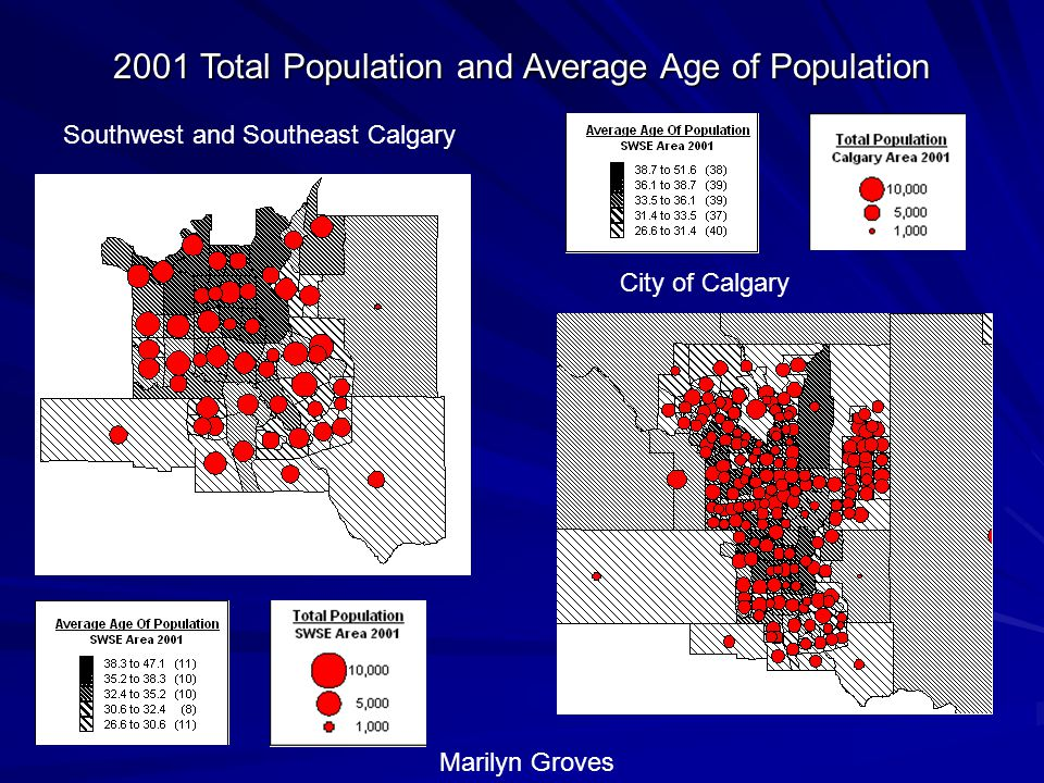 2001 Total Population and Average Age of Population Southwest and Southeast Calgary City of Calgary Marilyn Groves