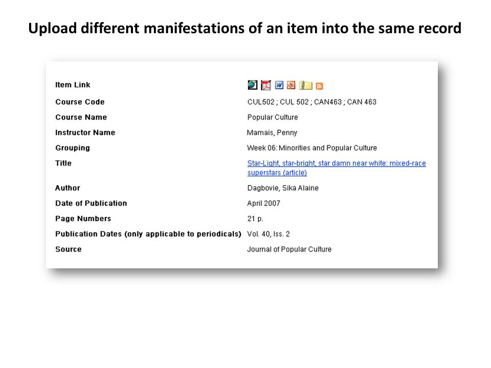 Upload different manifestations of an item into the same record