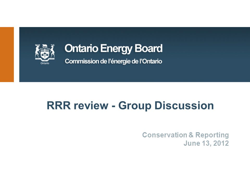 RRR review - Group Discussion Conservation & Reporting June 13, 2012