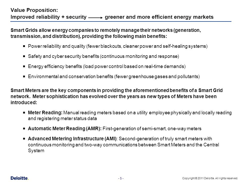 - 5 - Copyright © 2011 Deloitte. All rights reserved. Value Proposition: Improved reliability + security greener and more efficient energy markets Sma
