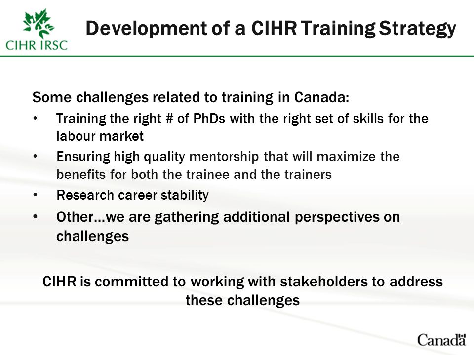 Development of a CIHR Training Strategy Some challenges related to training in Canada: Training the right # of PhDs with the right set of skills for the labour market Ensuring high quality mentorship that will maximize the benefits for both the trainee and the trainers Research career stability Other…we are gathering additional perspectives on challenges CIHR is committed to working with stakeholders to address these challenges