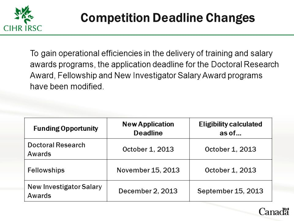Competition Deadline Changes To gain operational efficiencies in the delivery of training and salary awards programs, the application deadline for the Doctoral Research Award, Fellowship and New Investigator Salary Award programs have been modified.