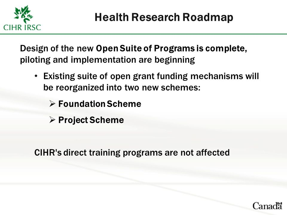 Health Research Roadmap Design of the new Open Suite of Programs is complete, piloting and implementation are beginning Existing suite of open grant funding mechanisms will be reorganized into two new schemes:  Foundation Scheme  Project Scheme CIHR s direct training programs are not affected