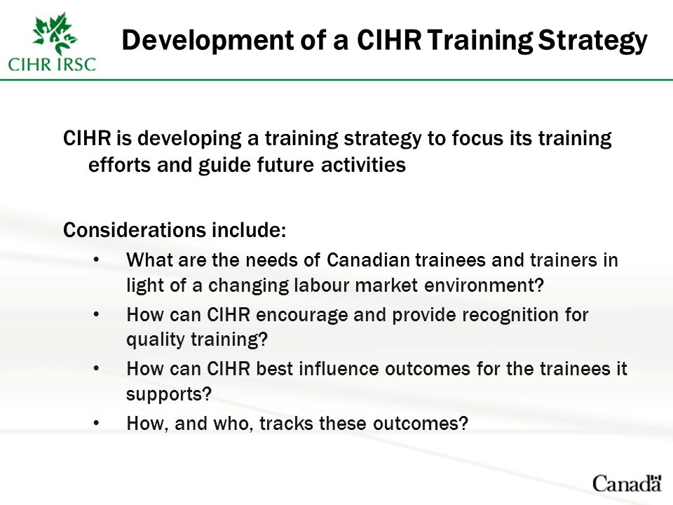 Development of a CIHR Training Strategy CIHR is developing a training strategy to focus its training efforts and guide future activities Considerations include: What are the needs of Canadian trainees and trainers in light of a changing labour market environment.