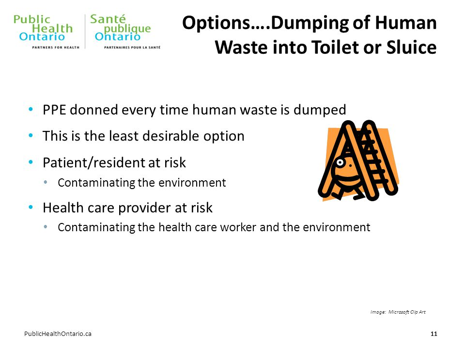 PublicHealthOntario.ca Options….Dumping of Human Waste into Toilet or Sluice 11 PPE donned every time human waste is dumped This is the least desirable option Patient/resident at risk Contaminating the environment Health care provider at risk Contaminating the health care worker and the environment Image: Microsoft Clip Art