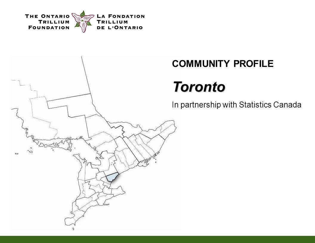 COMMUNITY PROFILEToronto In partnership with Statistics Canada