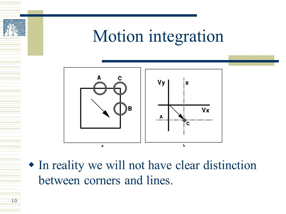 10 Motion integration  In reality we will not have clear distinction between corners and lines.